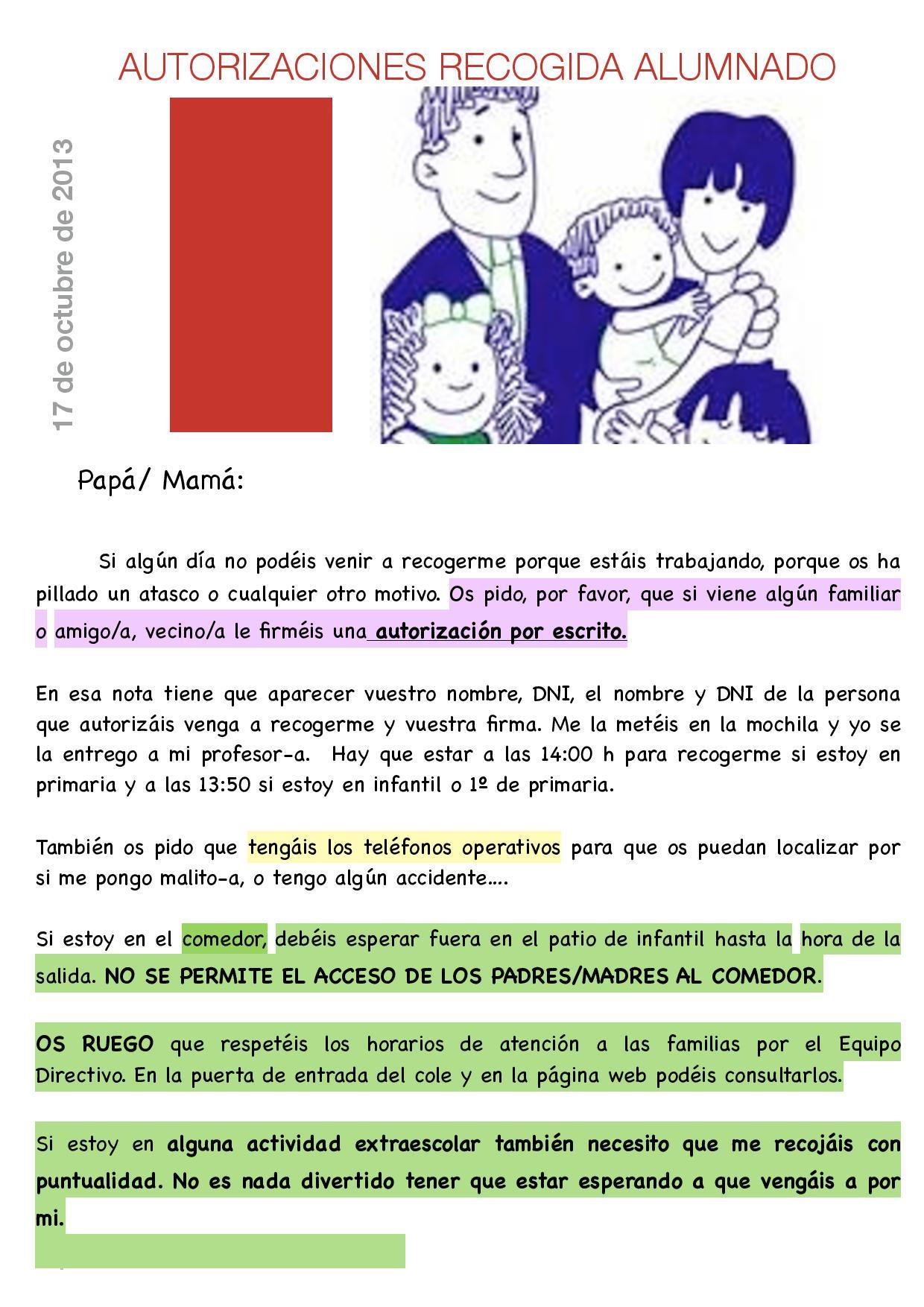 autorizaciones recogida alumnado